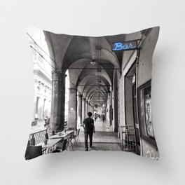 Black and white Bologna Street Photography Throw Pillow