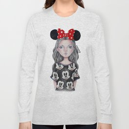 Minnie Mouse Inspired Style Girl Drawing Long Sleeve T-shirt
