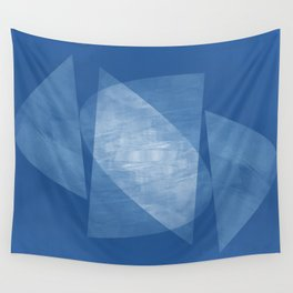 Blue Geometric Abstract Mid Century Modern Wall Tapestry