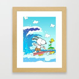 snoopy surfing Framed Art Print