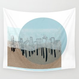 Rice Paper City Scape, Blue Wall Tapestry