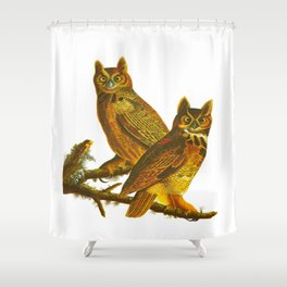 Great Horned Owl John James Audubon Vintage Scientific Bird Illustration Shower Curtain