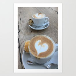 Sweet Cappuccino and a Heart Art Print