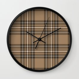 Coffee and Cream Tartan Wall Clock