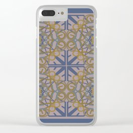 Gender Equality Tiled - Blue Ochre Clear iPhone Case