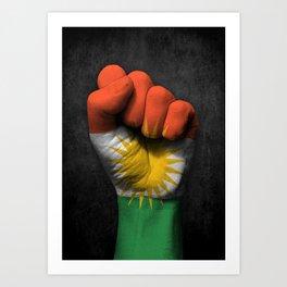 Kurdish Flag on a Raised Clenched Fist Art Print