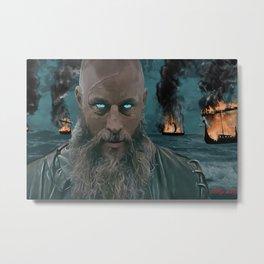 Ragnar Lothbrok Painting, King of the Northmen Metal Print