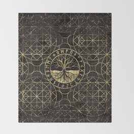 Tree of life  -Yggdrasil and  Runes Throw Blanket