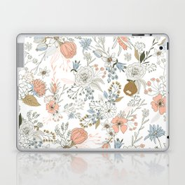 Abstract modern coral white pastel rustic floral Laptop & iPad Skin