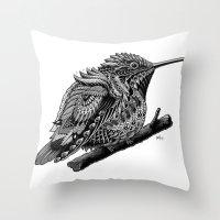 hummingbird Throw Pillows featuring Hummingbird by BIOWORKZ