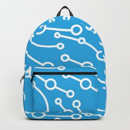 Pattern from abstract white lines and circles on a blue background. Backpack