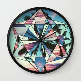 Summer Palm Tree Mosaic Wall Clock