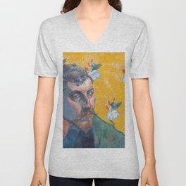 1888 - Gauguin - Self-portrait with portrait of Bernard, 'Les Misérables Unisex V-Neck