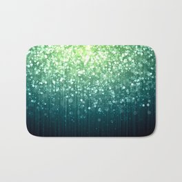 Spring Teal Green Sparkles Bath Mat