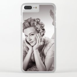 """Curlers Before Bed"" - The Playful Pinup - Lounging in Lace Pin-up Girl by Maxwell H. Johnson Clear iPhone Case"