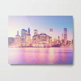 New York City Skyline - Lights Metal Print