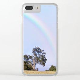 Rainbow Landscape Photography | Unicorn Sunset | Blue Sky | Tree Art | Nature Clear iPhone Case