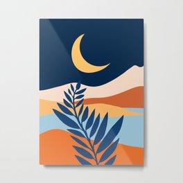 Moon + Night Bloomer / Mountain Landscape Metal Print