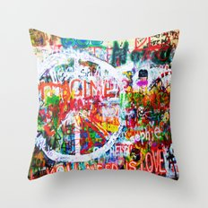 Lennon Wall - All You Need Is Love - Peace Throw Pillow