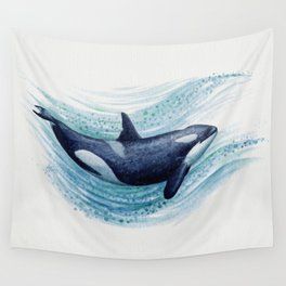 """""""Orca Spash"""" by Amber Marine ~ Watercolor Killer Whale Painting, (Copyright 2016) Wall Tapestry"""