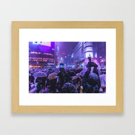 Instagrammers life in Shibuyacrossing at Snowy Night Framed Art Print