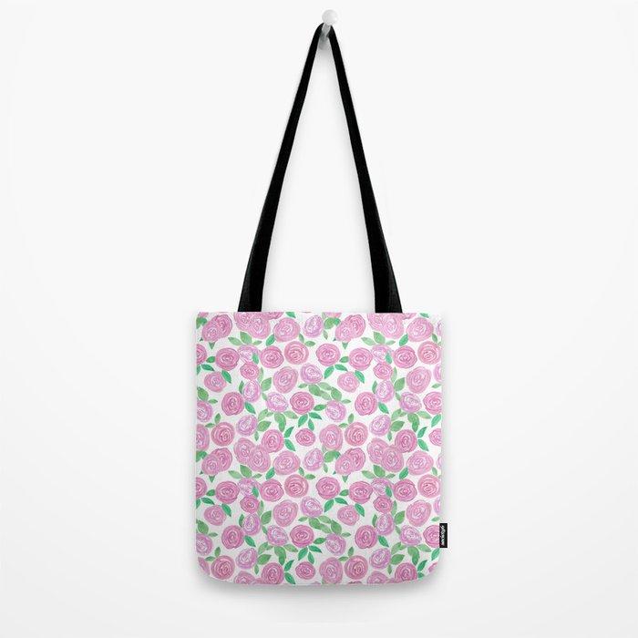 Pale pink roses . Watercolor . Tote Bag