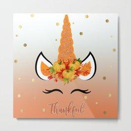 Thanksgiving Unicorn Face Thankful Metal Print