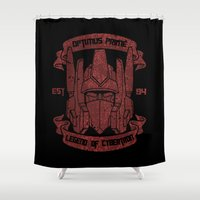 optimus prime Shower Curtains featuring Legend Of Cybertron - Optimus by Vitalitee