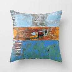 Alligator Blue Orange Modern Abstract Contemporary Art Throw Pillow