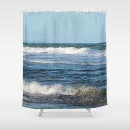 Waves and distant headlands in Queensland, Australia Shower Curtain