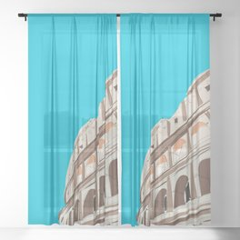 Rome, Italy Colosseum / Roma Il Colosseo, Italia Travel Poster Sheer Curtain