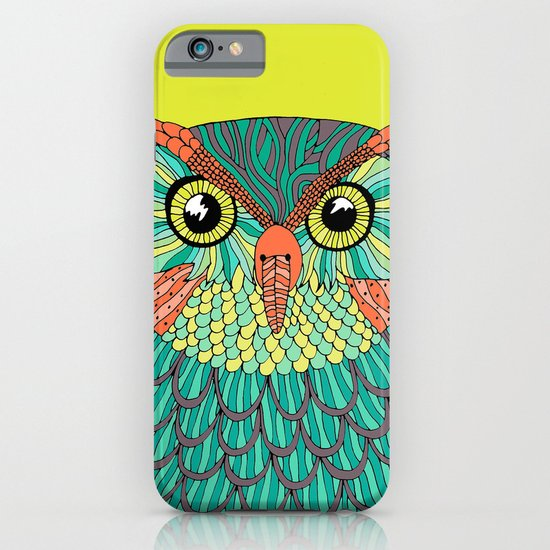 owl - Lime green iPhone & iPod Case