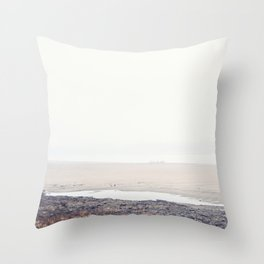 Foggy Mississippi River Throw Pillow