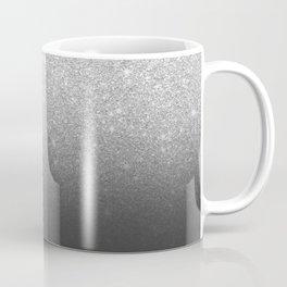 Modern faux silver glitter ombre grey black color block Coffee Mug