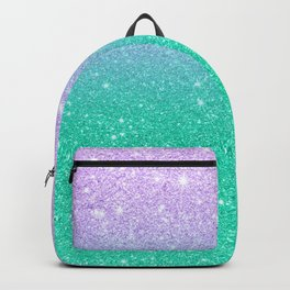 Mermaid purple teal aqua FAUX glitter ombre gradient Backpack