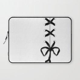 Laced Black Ribbon on White Laptop Sleeve