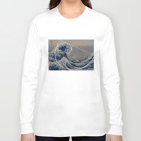 fibonacci Long Sleeve T-shirts featuring Hokusai Meets Fibonacci by Vi Sion