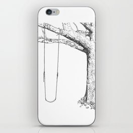 tree and swing, drawing black and white iPhone Skin