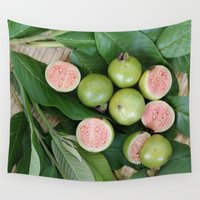 fruits Wall Tapestries featuring FRUITS & LEAVES by Annie Koh