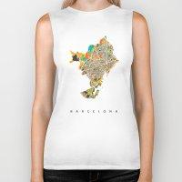 barcelona Biker Tanks featuring Barcelona by Nicksman