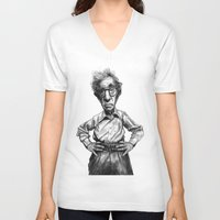 woody allen V-neck T-shirts featuring Woody Allen by MK-illustration