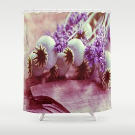 Opium poppy capsule Lavender flower still life Shower Curtain