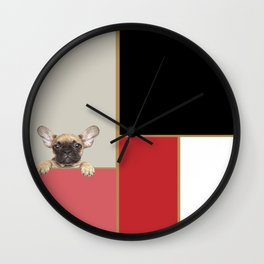 "Color Block Bliss featuring ""Peaches The Frenchie"" Wall Clock"