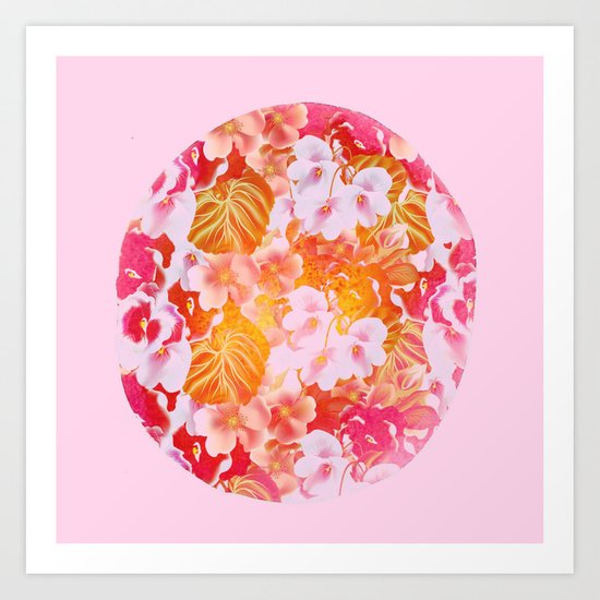 pink floral in a circle Art Print