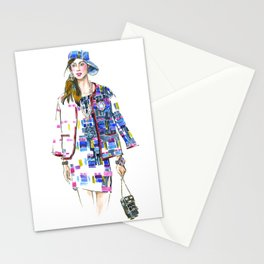 fashion #60: Woman in a suit with geometric pattern Stationery Cards