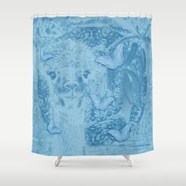 Ghostly alpaca with butterflies in snorkel blue Shower Curtain