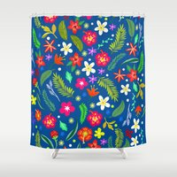 hawaiian Shower Curtains featuring Hawaiian Garden by uzualsunday