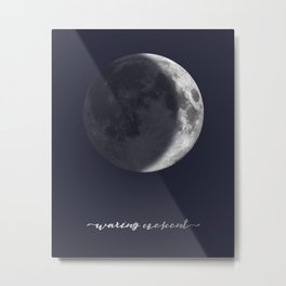 Waxing Crescent Moon on Navy - English Metal Print