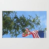 american flag Area & Throw Rugs featuring American Flag  by KCavender Designs