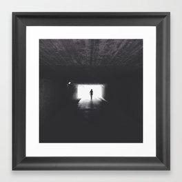 Black and white tunnellight Framed Art Print